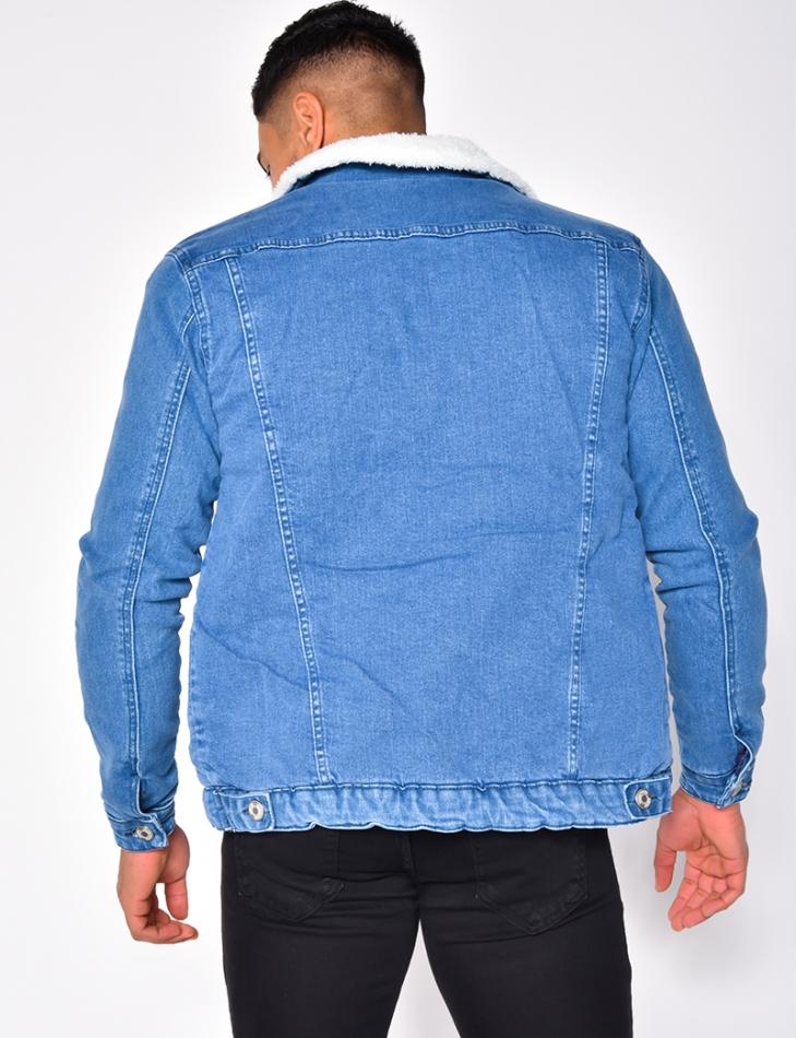 Veste en jeans à doublure effet peau de mouton