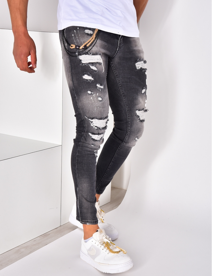 Jeans destroy Icon à chaîne