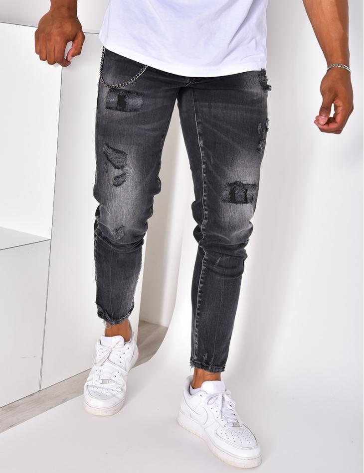 Jeans destroy à chaînes Icon