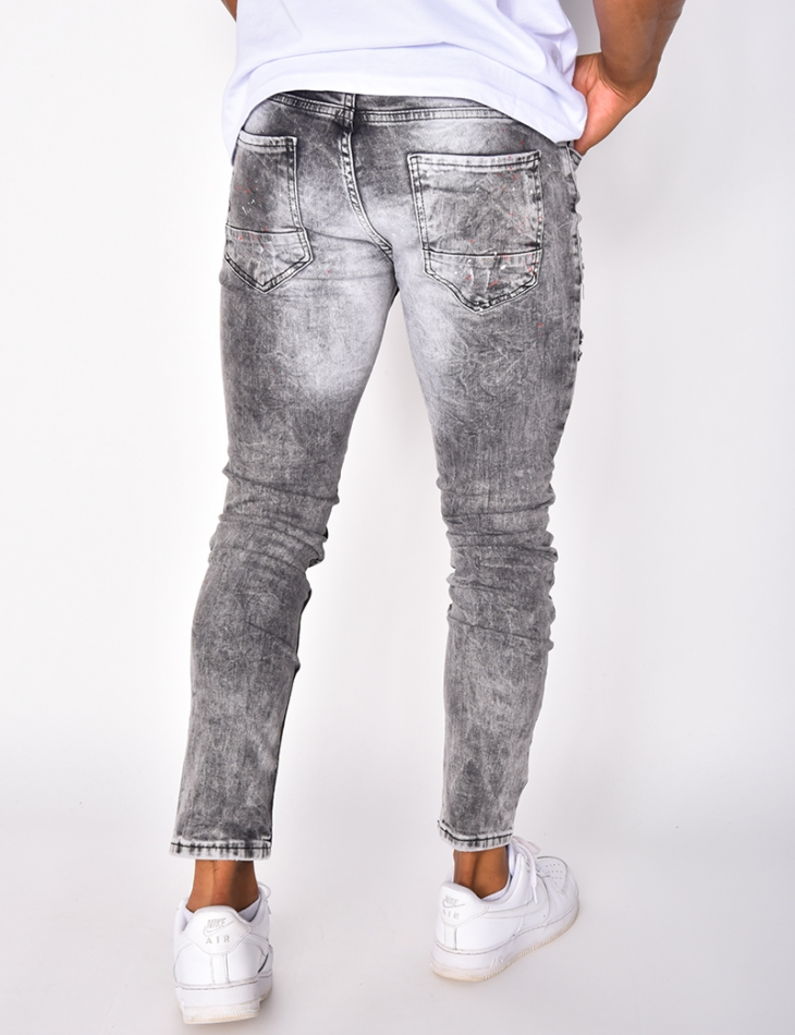 Jeans destroy à tâches et numéro 2