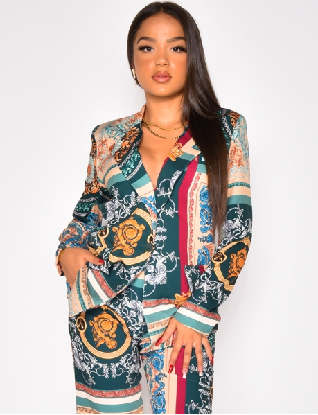 Veste de blazer à motif baroque