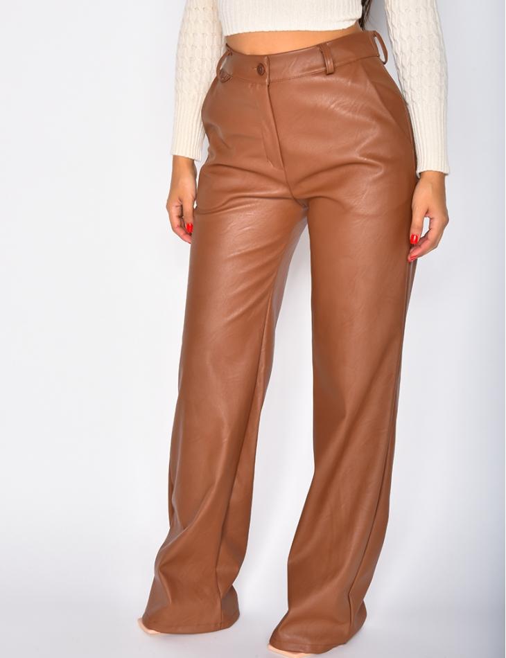Pantalon large en simili