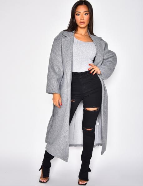 Manteau long oversize à nouer
