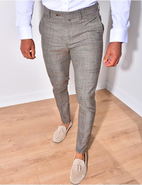 Pantalon de costume à petit carreaux
