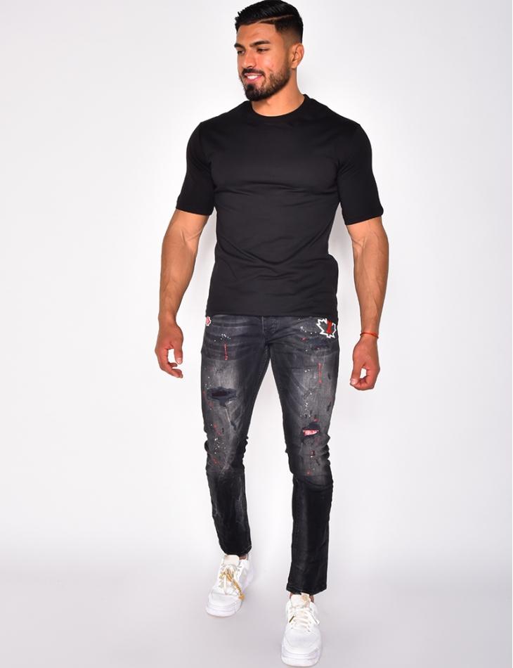 Jeans destroy à tâches avec feuille d'érable et numéro 2