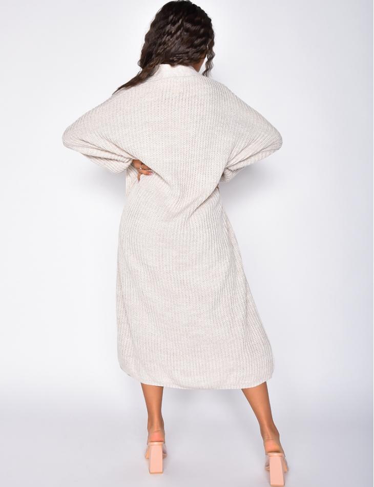 Ensemble gilet et robe pull sans manches oversize