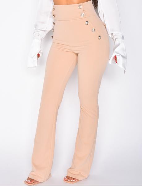 Pantalon de tailleur à boutons dorés