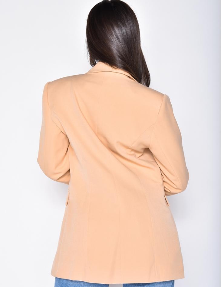 Veste de blazer à boutons croisés nude