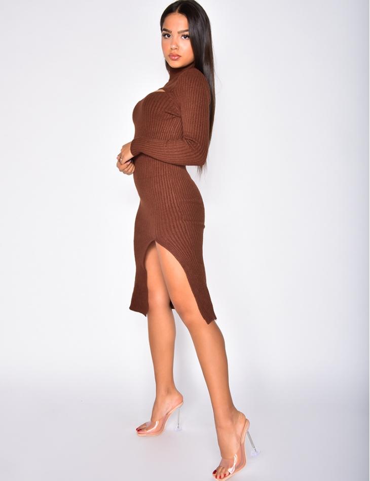 Robe longue côtelé ajourée