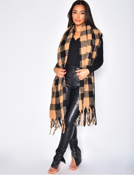 Echarpe en laine à carreaux