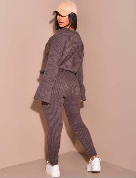 Ensemble pantalon et pull oversize côtelé en laine