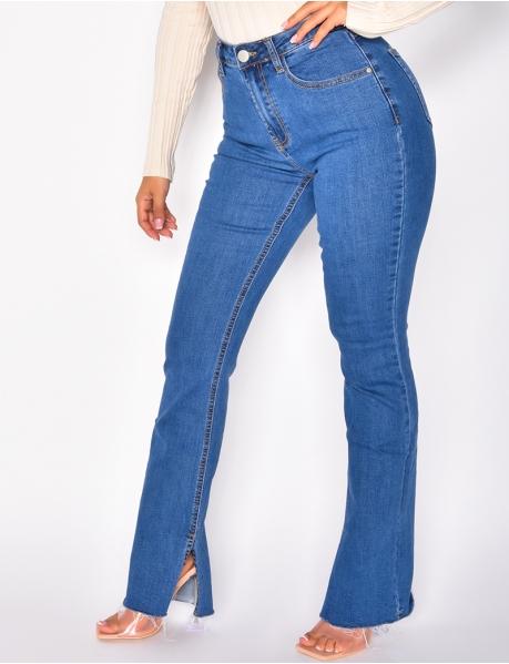 Jeans taille haute stretchy à fentes