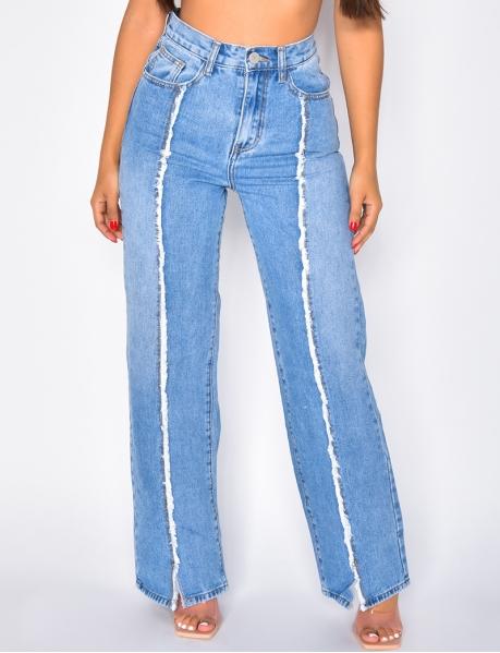 Jeans large avec couture effilochés