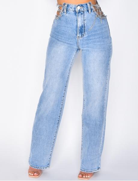 Jeans coupe droite avec chaînes
