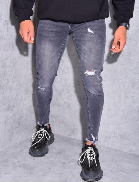 Jeans destroy effiloché aus chevilles