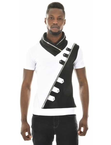 T-shirt homme contrastant zippé
