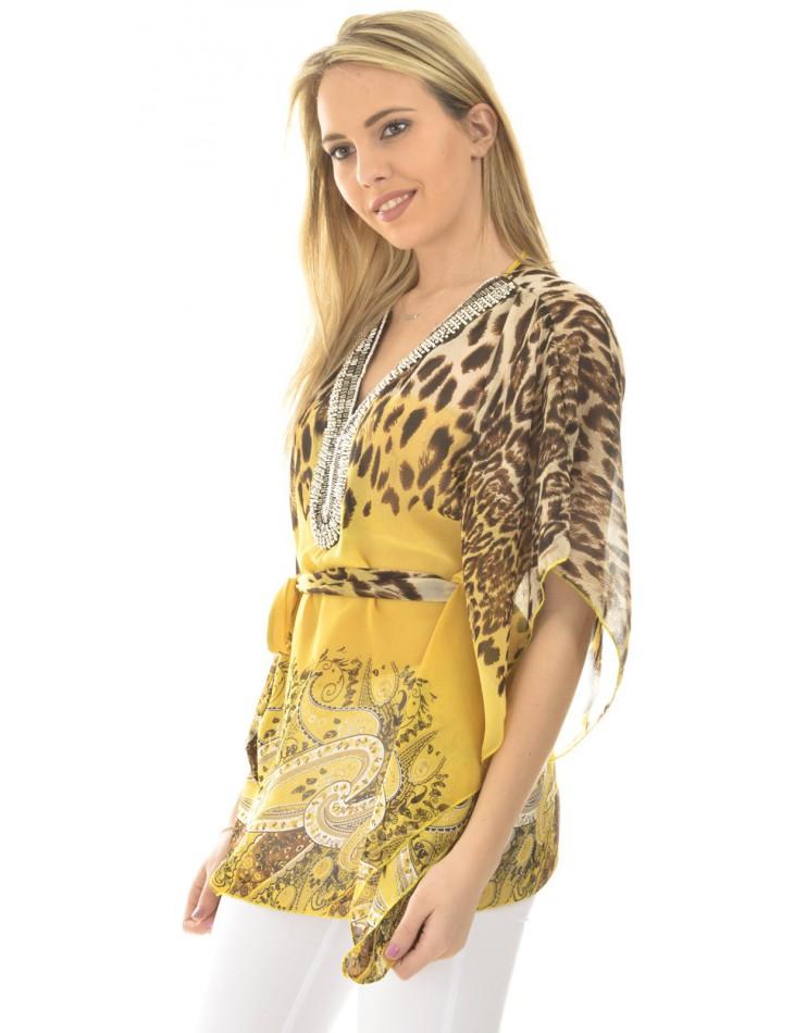 Tunique fluide à motif léopard