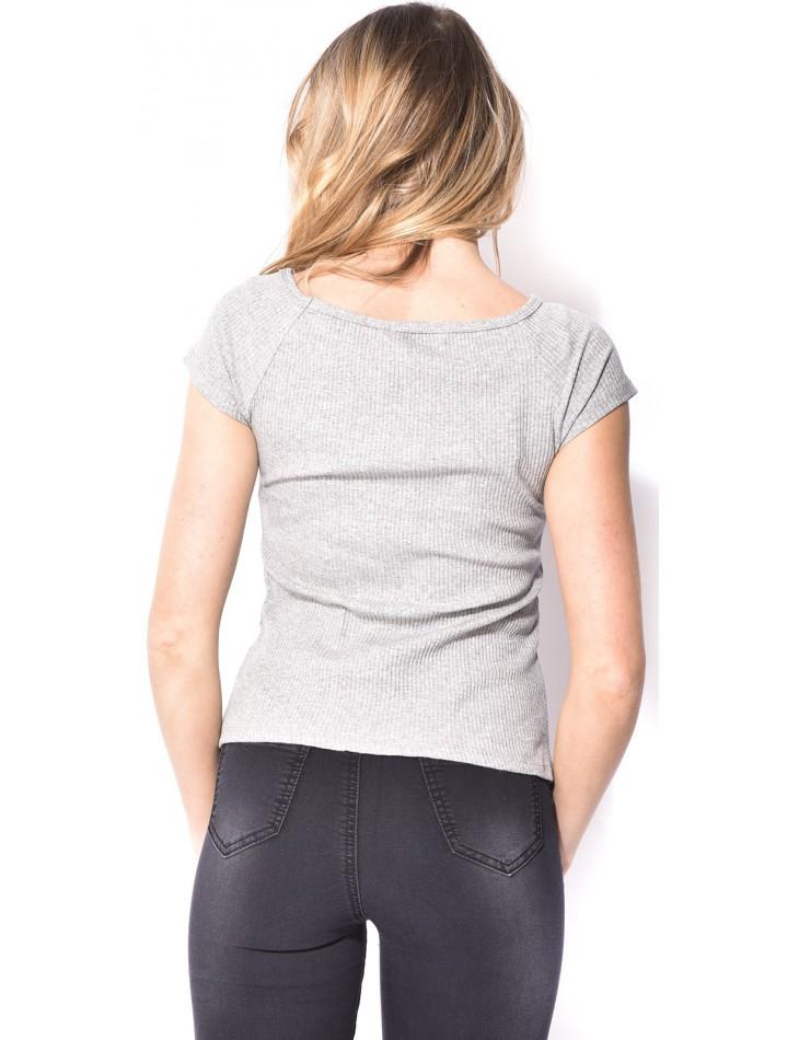 T-shirt manches courtes côtelé