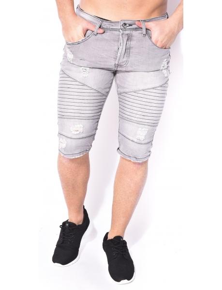Gov Denim Ripped Grey Denim Bermuda Shorts