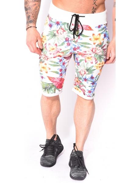 Bermuda homme à fleurs