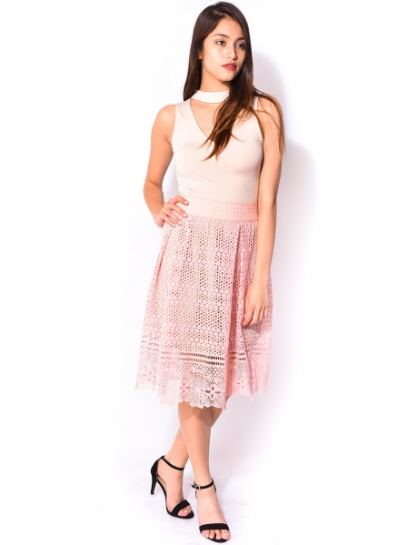 Midi skirt in embroidered lace